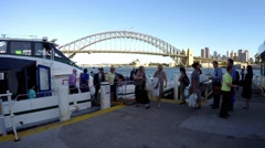 Sydney Rivercat Ferry picks up passengers and heads off. Time Lapse Stock Footage