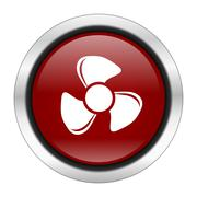 fan icon, red round button isolated on white background, web design illustrat - stock illustration