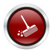 broom icon, red round button isolated on white background, web design illustr - stock illustration