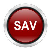 sav icon, red round button isolated on white background, web design illustrat - stock illustration