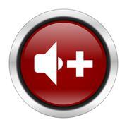 Speaker volume icon, red round button isolated on white background, web desig Stock Illustration