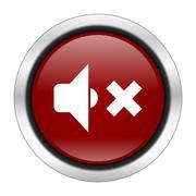 speaker volume icon, red round button isolated on white background, web desig - stock illustration