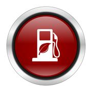 Biofuel icon, red round button isolated on white background, web design illus Stock Illustration