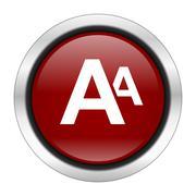 alphabet icon, red round button isolated on white background, web design illu - stock illustration