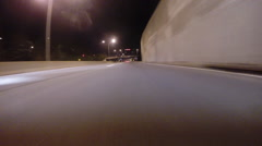 GoPro attached to bumper of car at night - 39 - stock footage