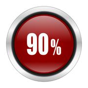 90 percent icon, red round button isolated on white background, web design il Stock Illustration