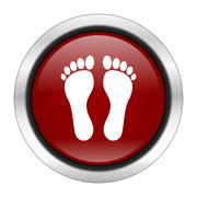 foot icon, red round button isolated on white background, web design illustra - stock illustration