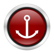 anchor icon, red round button isolated on white background, web design illust - stock illustration