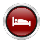 hotel icon, red round button isolated on white background, web design illustr - stock illustration