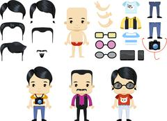 Asian Male Hipster Avatar set Stock Illustration