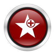 star icon, red round button isolated on white background, web design illustra - stock illustration