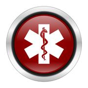 Emergency icon, red round button isolated on white background, web design ill Stock Illustration