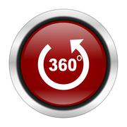 panorama icon, red round button isolated on white background, web design illu - stock illustration
