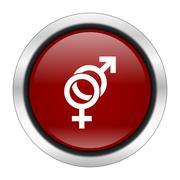sex icon, red round button isolated on white background, web design illustrat - stock illustration