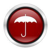 umbrella icon, red round button isolated on white background, web design illu - stock illustration