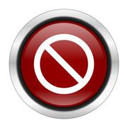 access denied icon, red round button isolated on white background, web design - stock illustration