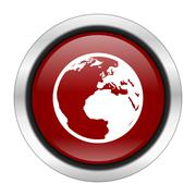 earth icon, red round button isolated on white background, web design illustr - stock illustration