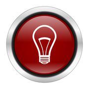 bulb icon, red round button isolated on white background, web design illustra - stock illustration