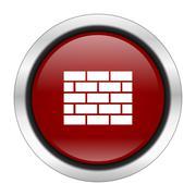 Firewall icon, red round button isolated on white background, web design illu Stock Illustration