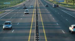 Top view of the multi-band highway, traffic vehicles, the city of Minsk Stock Footage
