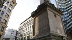 Monument to the Great Fire of London (base, pan), London, England Stock Footage
