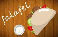 Plate of falafel with pita bread on wooden table. - stock illustration