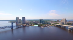 Aerial of St Johns River and Bridges in Jacksonville Florida 60fps Stock Footage