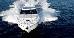 Aerial view Luxury motor yacht in navigation, motoryacht, Stock Footage