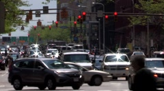 Downtown Cleveland Ohio East 9th Street Traffic and people Stock Footage