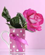 Pink Ribbon Charity Coffee Cup - stock photo