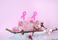 Pink Ribbon charity lamington cakes Stock Photos