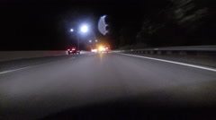 GoPro attached to bumper of car at night - 44 Stock Footage