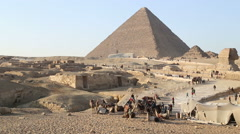 View of tourists and domestic people at pyramids at Giza, Egypt Stock Footage
