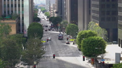 Flower Street in Downtown Los Angeles -Zoom Out- Stock Footage