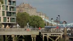 Tower Bridge flats and promenade, London Stock Footage