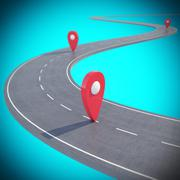 Road path going forward on blue background with pin pointer. 3d illustration - stock illustration