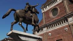 Pavia Cathedral and ancient equestrian statue of Regisole, Italy Stock Footage