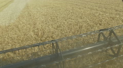 Point of view, from the cabin command control,  of a Wheat field harvested Stock Footage