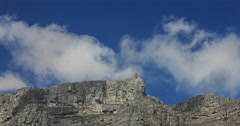 Time-lapse close up of Table Mountain's top cable car station, Cape Town Stock Footage