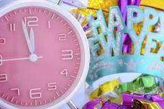 Happy New Year Clock and Party Decorations. Kuvituskuvat