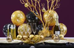 New Years Eve Dinner Table Setting. - stock photo