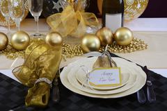 New Years Eve Dinner Table Setting. Stock Photos