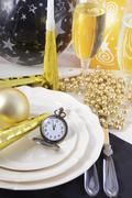 New Years Eve Dinner Table Place Setting. - stock photo