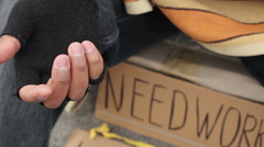 Unhappy lonely man begging on the street, in need of work, poverty and indigence Stock Footage