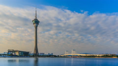 (4 Shots) Macau Tower And Macau Bridge Landmark Of Macau China (4K Time Lapse) Stock Footage