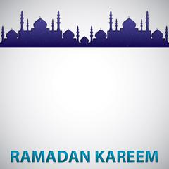 "Mosque ""Ramadan Kareem"" (Generous Ramadan) card in vector format. - stock illustration"