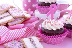 Pink Ribbon Charity for Womens Health Awareness Morning Tea. - stock photo
