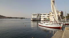 Boats on the Nile river in Aswan Stock Footage