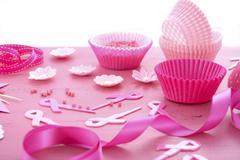 Pink Ribbon Charity Event Cupcake Preparation Stock Photos