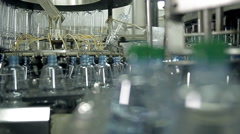 Manufacturing and filling plastic bottles with drinking water Stock Footage